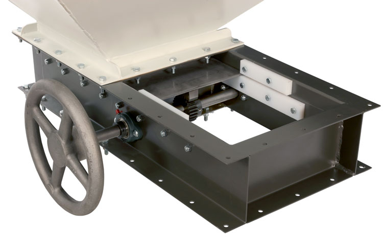 Dry bulk material process surge bin with rack-and-pinion slide gate