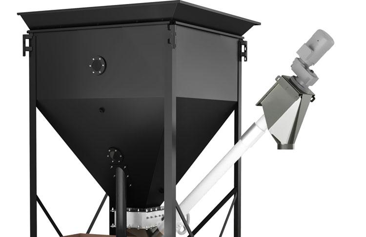 Bulk material surge bin with flexible screw conveyor takeaway