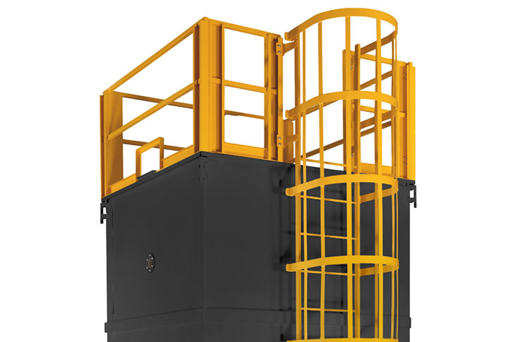 Surge bin with ladder and guardrail