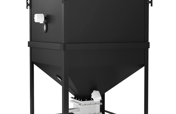 Bulk material surge bin with high and low level product sensors