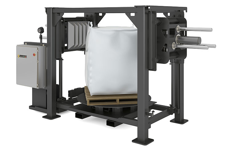 Bulk Bag Conditioner with Vertical Adjustable Ram Positioning
