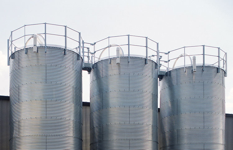 Storage silo guard rails